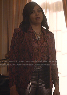 Cookie's red snake print blouse and blazer on Empire
