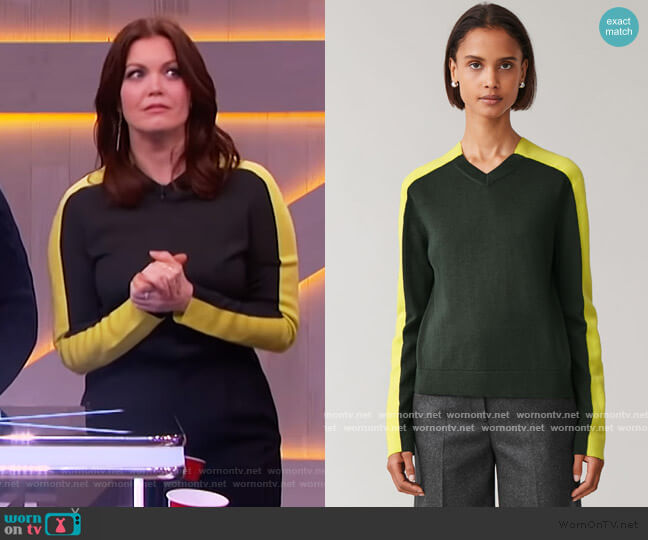 Colorblock Wool Top by Cos worn by Bellamy Young on The Kelly Clarkson Show