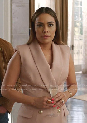 Cristal's pink sleeveless blazer dress on Dynasty