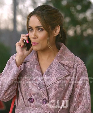 Cristal's pink snakeskin coat on Dynasty