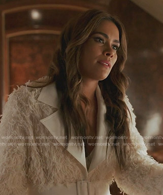Cristal's white fringe belted coat on Dynasty
