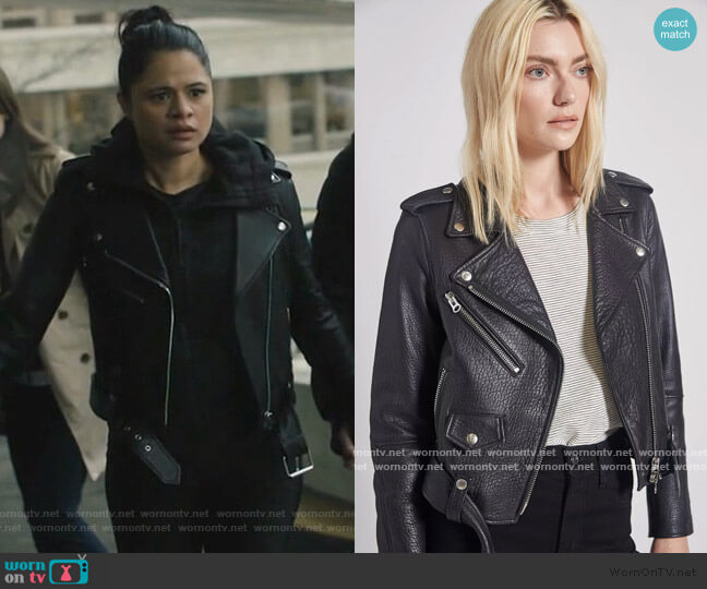 The Shaina Leather Biker Jacket by Current/Elliott worn by Mel Vera (Melonie Diaz) on Charmed