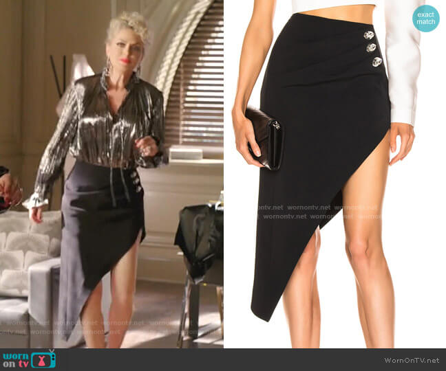 Ruched Pencil Skirt by David Koma worn by Alexis Carrington (Elaine Hendrix) on Dynasty