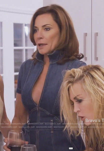 Luann's denim jumpsuit on The Real Housewives of New York City