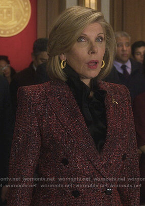 Diane's red tweed double breasted blazer on The Good Fight