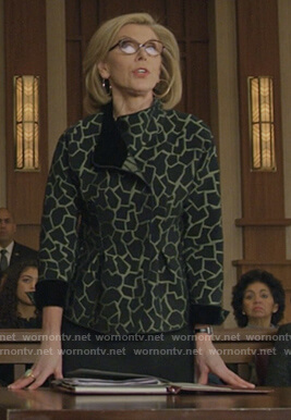 Diane's black giraffe print blazer on The Good Fight