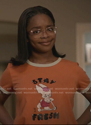Diane's orange Stay Fresh tee on Black-ish