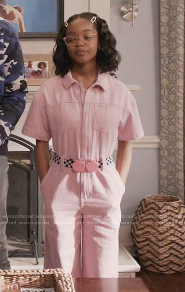 Diane's pink denim jumpsuit on Black-ish