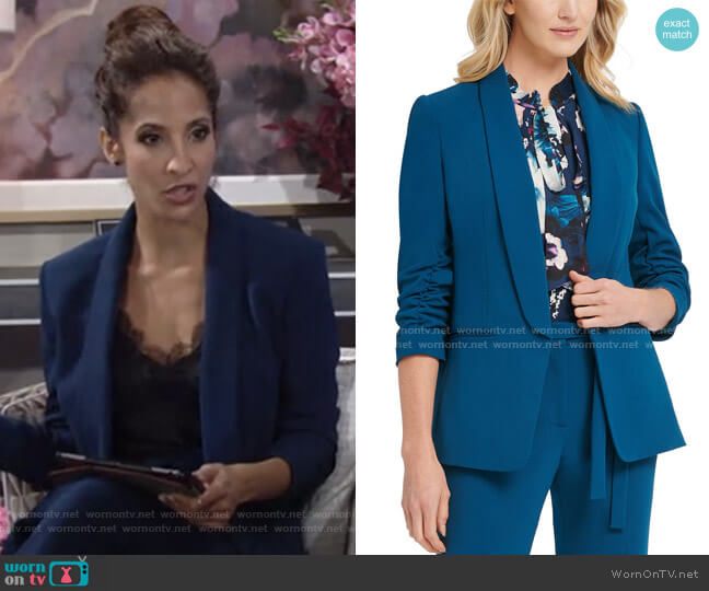 Ruched-Sleeve Open-Front Blazer by DKNY worn by Lily Winters (Christel Khalil) on The Young & the Restless
