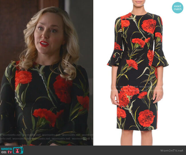 Bell-Sleeve Carnation-Print Dress by Dolce & Gabbana worn by Marissa Morgan (Geneva Carr) on Bull