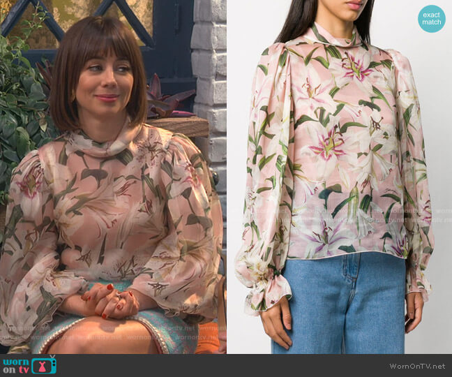 Floral Print Blouse by Dolce & Gabbana worn by Elizabeth (Natasha Leggero) on Broke