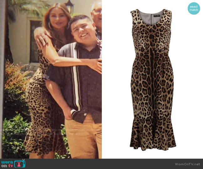 Dolce & Gabbana Flounce Hem Leopard Print Dress worn by  Gloria Pritchett (Sofia Vergara) on Modern Family