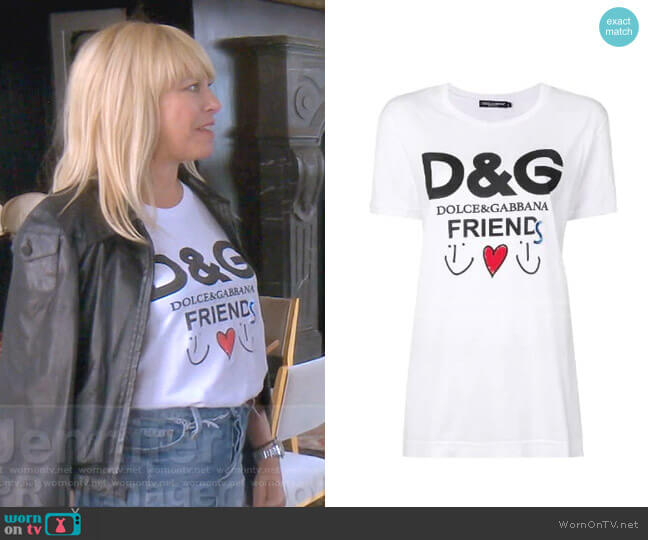 Friends Logo T-shirt by Dolce & Gabbana worn by Sutton Stracke  on The Real Housewives of Beverly Hills