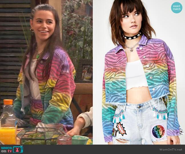 Zebra Spectrum Denim Jacket by Dolls Kill worn by Tess O'Malley (Sky Katz) on Ravens Home
