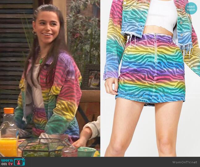 Zebra Spectrum Denim Skirt by Dolls Kill worn by Tess O'Malley (Sky Katz) on Ravens Home