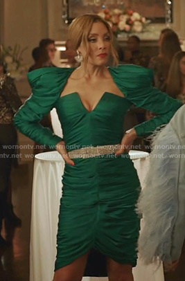 Dominique's green gathered dress on Dynasty