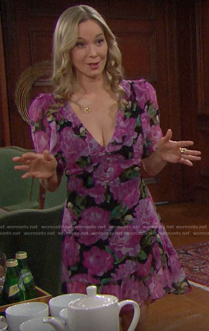 Donna's pink floral ruffled dress on The Bold and the Beautiful