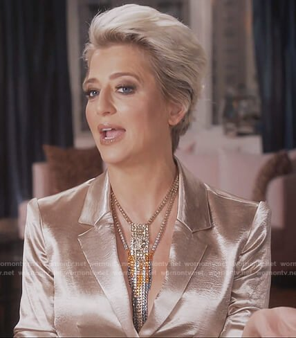 Dorinda's metallic blazer on The Real Housewives of New York City