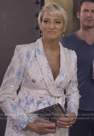 Dorinda's white dye print blazer on The Real Housewives of New York City