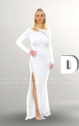 Dorit's white lace-up detail gown on The Real Housewives of Beverly Hills Opening Credits