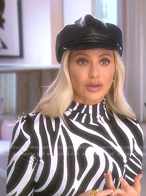 Dorit's zebra print turtleneck top on The Real Housewives of Beverly Hills