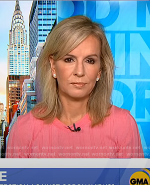 Dr. Jennifer Ashton's pink ribbed sweater on Good Morning America
