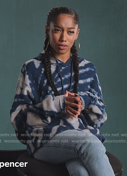 Drea's blue tie dye hoodie on BlackAF