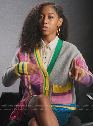 Drea's star print blouse and cardigan on BlackAF