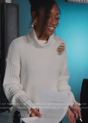 Drea's white distressed turtleneck sweater on BlackAF