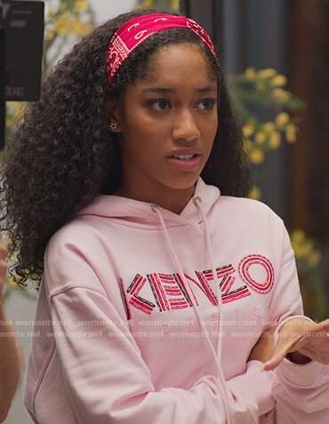 Drea's pink Kenzo embroidered sweatshirt on BlackAF