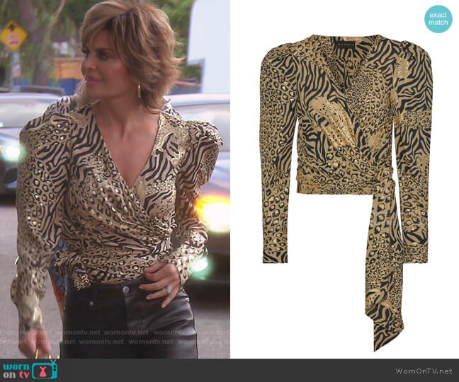 Cropped Metallic Printed Crepe Wrap Blouse by Dundas worn by Lisa Rinna  on The Real Housewives of Beverly Hills