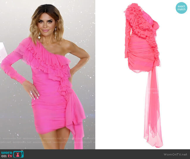One-shoulder tiered-ruffle mini dress by Dundas worn by Lisa Rinna  on The Real Housewives of Beverly Hills
