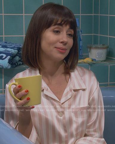 Elizabeth's satin striped pajamas on Broke