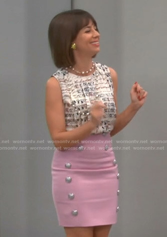 Elizabeth's white print sleeveless top and pink button embellished skirt on Broke