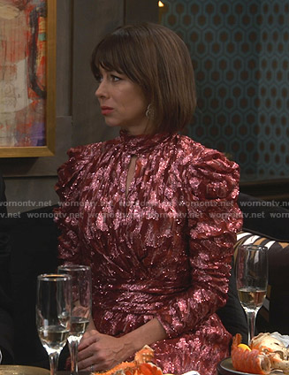 Elizabeth's metallic keyhole dress on Broke