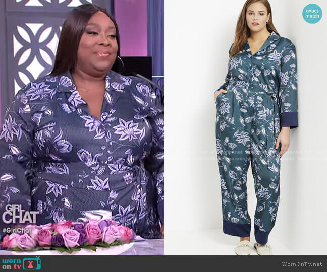 Block Print Collar Jumpsuit by Eloquii worn by Loni Love  on The Real