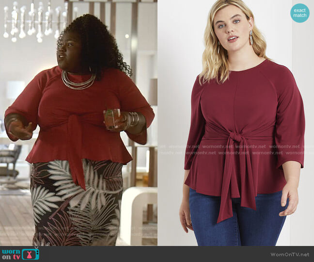 Flared Sleeve Tie Front Top by Eloquii worn by Becky (Gabourey Sidibe) on Empire