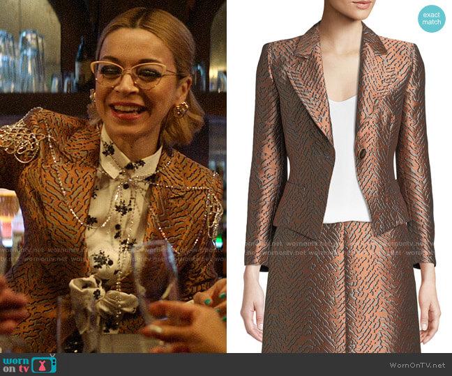 Emporio Armani One-Button Classic Metallic Jacquard Jacket worn by Pepper Smith (Julia Chan) on Katy Keene