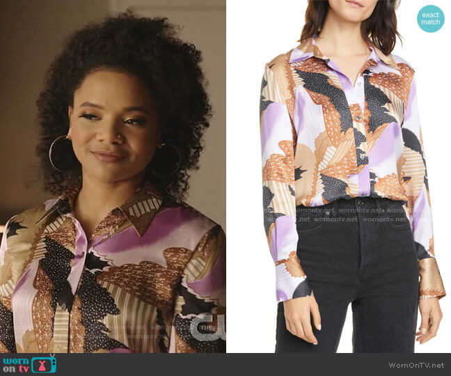 Sedienne Print Silk Blouse by Equipment worn by Vanessa (Jade Payton) on Dynasty