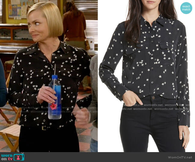 Equipment Starry Night Silk Shirt worn by Jill Kendall (Jaime Pressly) on Mom