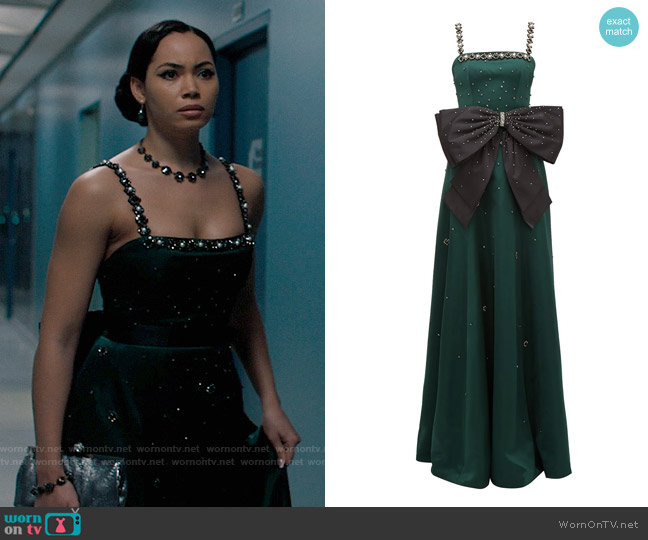 Erdem Ravenna crystal-embellished satin gown worn by Macy Vaughn (Madeleine Mantock) on Charmed