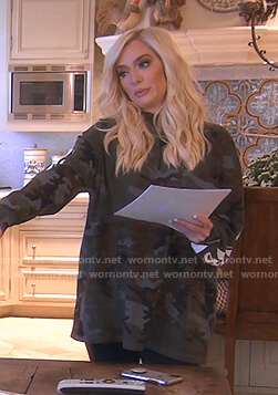 Erika's camouflage top on The Real Housewives of Beverly Hills