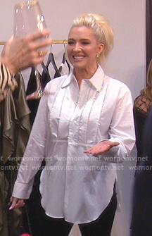 Erika's white embellished shirt on The Real Housewives of Beverly Hills
