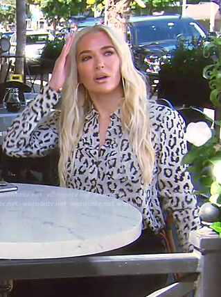 Erika's white leopard print blouse on The Real Housewives of Beverly Hills
