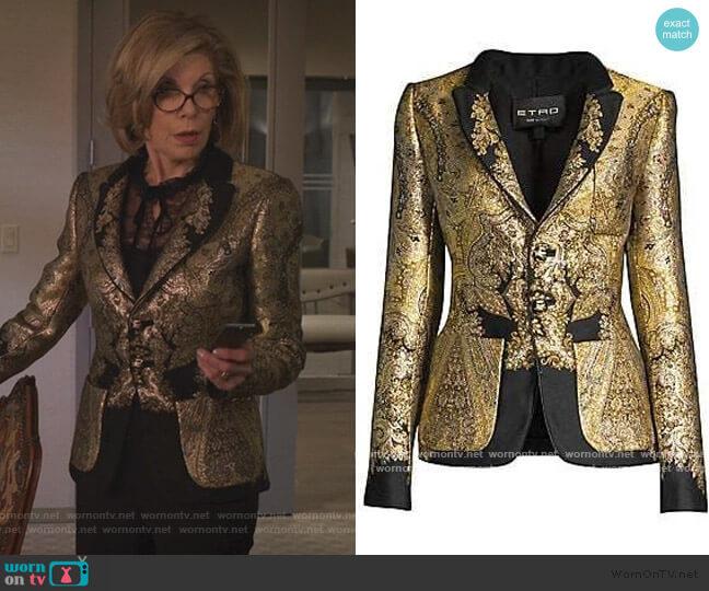 Metallic Paisley Jacquard Blazer by Etro worn by Diane Lockhart (Christine Baranski) on The Good Fight