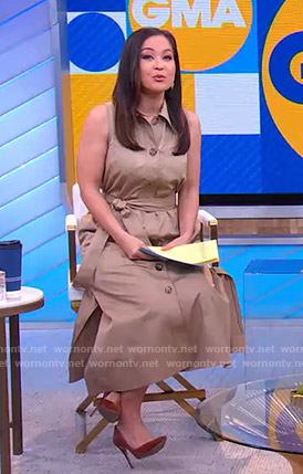 Eva Pilgrim's beige sleeveless shirtdress on Good Morning America