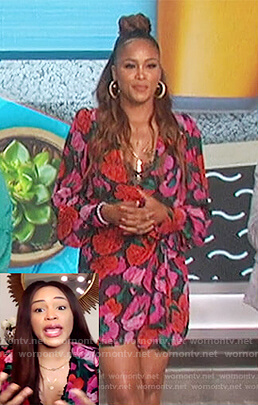 Eve's floral wrap dress on The Talk