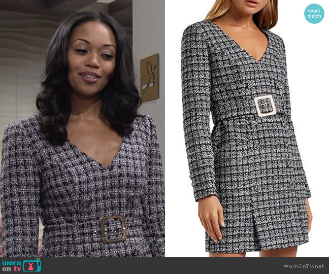 Celine Belted Bouclé Mini Dress by Ever New worn by Amanda Sinclair (Mishael Morgan) on The Young & the Restless