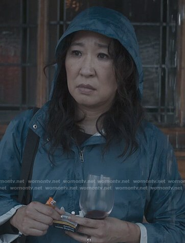 Eve's blue rain jacket on Killing Eve