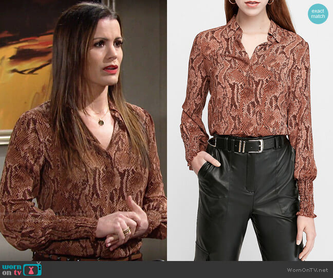 Express Snakeskin Print Smocked Cuff Shirt worn by Chelsea Lawson (Melissa Claire Egan) on The Young & the Restless